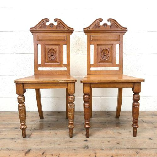 Antique Pair of Carved Oak Chairs (1 of 6)