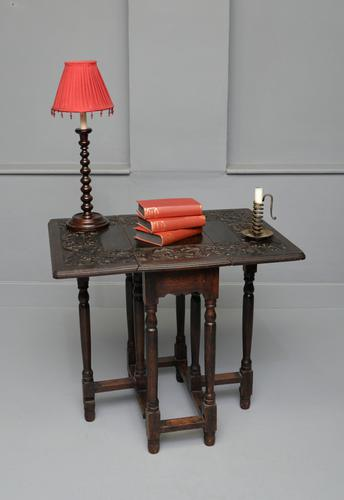 Carved Oak Leaf & Acorn Side Occasional Gateleg Table (1 of 10)