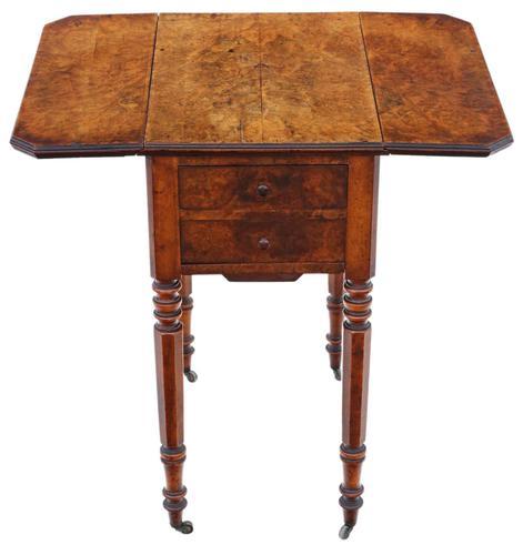 Victorian 19th Century Burr Walnut Drop Leaf Work Table c.1880 (1 of 8)