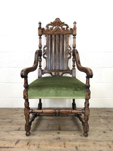 Victorian Carved Oak Armchair (1 of 10)