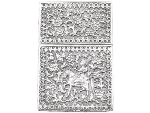 Indian Silver Card Case - Antique c.1880 (1 of 9)