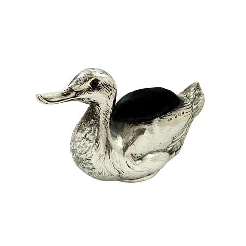 Large Antique Sterling Silver Duck Pin Cushion 1915 (1 of 9)