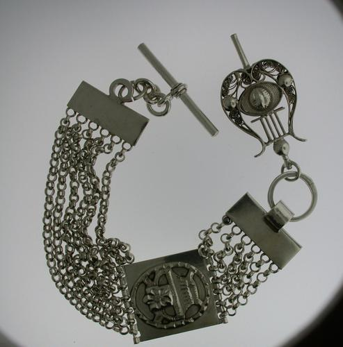 Silver T-bar Pocket Watch Chain (1 of 5)