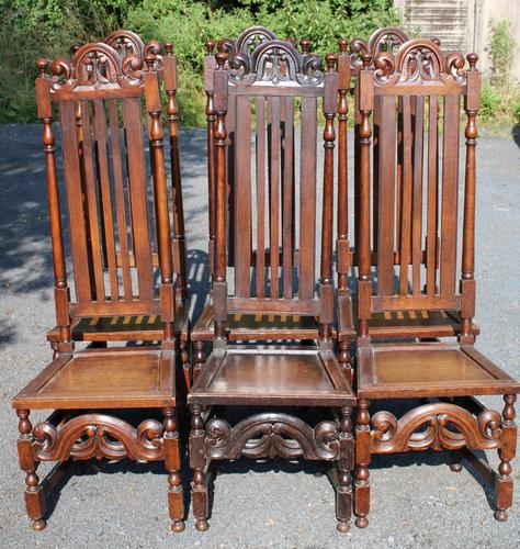 1900's Set 6 Carved Highback Oak Dining Chairs -carolean Style (1 of 5)