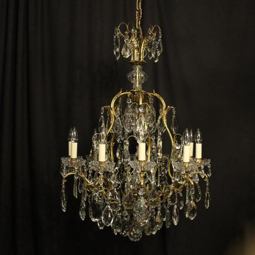 French Gilded Bronze & Crystal 11 Light Birdcage Chandelier (1 of 10)
