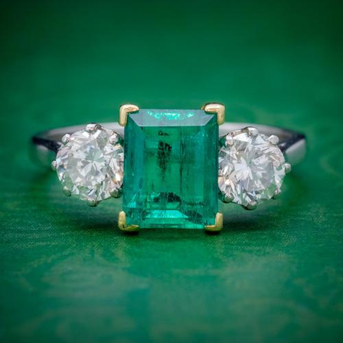 Art Deco Colombian Emerald Diamond Trilogy Ring Platinum 18ct Gold 2.55ct Emerald With Cert (1 of 9)