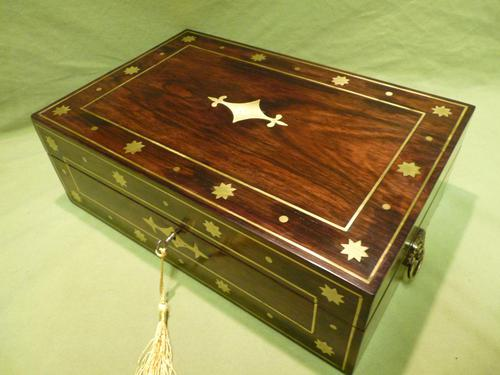 Regency Style Inlaid Rosewood Jewellery – Table Box c.1830 (1 of 11)