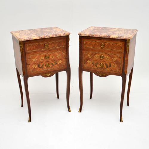 Pair of Antique French Inlaid Marble Top Bedside Chests (1 of 12)