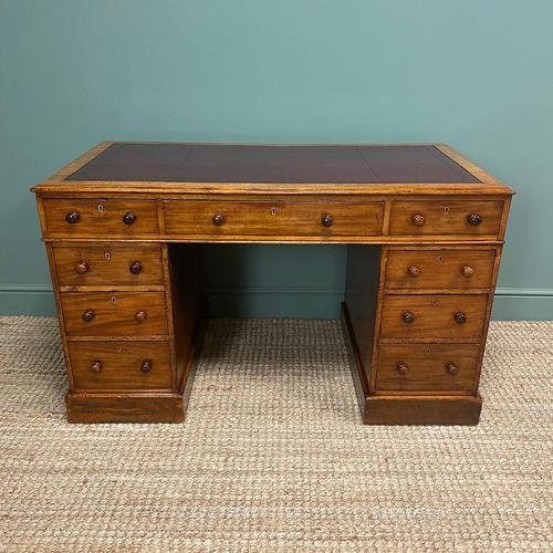 Quality Victorian Mahogany Antique Pedestal Desk (1 of 5)