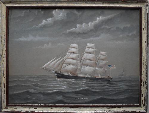 American Clipper White Squall 1861 Pierhead Watercolour Painting (1 of 9)