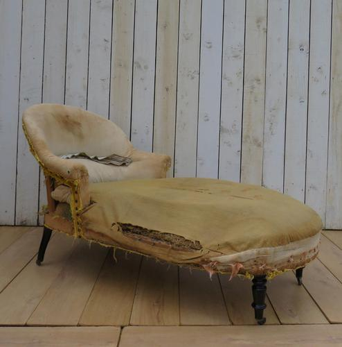 Antique French Chaise Longue Day Bed for re-upholstery (1 of 8)