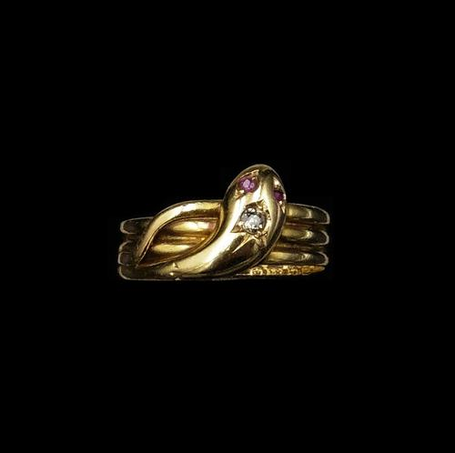 Antique Diamond Snake Serpent 18ct Gold Ring Band (1 of 6)