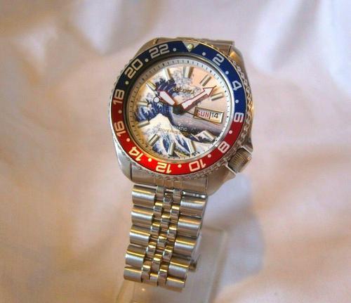 Vintage Wrist Watch 1987 Seiko Diver Mod Great Wave Of Kanagawa Pepsi Bezel Fwo (1 of 12)