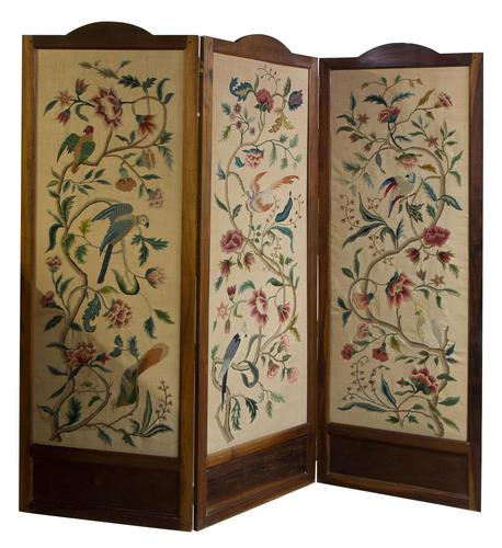 """Pretty 3 Fold Arch Screen decorated with """"Bird of Paradise"""" (1 of 5)"""