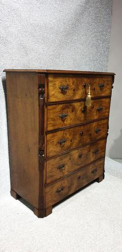 Burr Walnut Chest of Five Drawers (1 of 9)