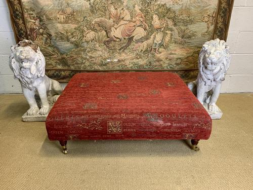 Large Ottoman on Mahogany Legs with Brass Casters (1 of 3)