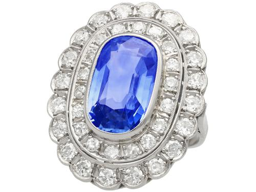 6.25 ct Ceylon Sapphire & 3.75ct Diamond, Platinum Dress Ring c.1930 (1 of 12)
