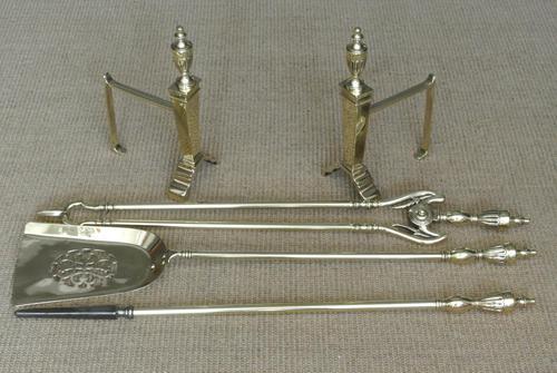 Edwardian Neo Classical Adam Urn Brass Fire Irons & Brass Fire Dogs Companion Set c.1910 (1 of 11)