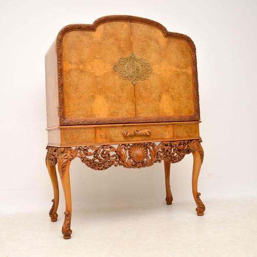 Antique Burr Walnut Cocktail Drinks Cabinet by Hille (1 of 11)