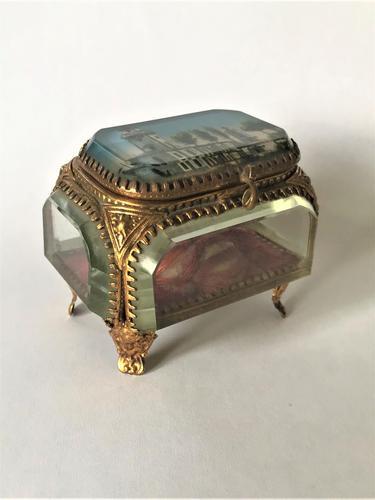 European Glass & Ormolu Scenic Trinket Box (1 of 7)