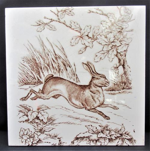 Wedgwood 8 inch tile with running Hare, 1876 (1 of 3)