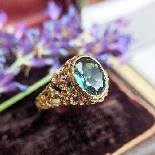 Vintage 9ct Yellow Gold Green Synthetic Spinel Dress Ring, Imitation Tourmaline (1 of 10)