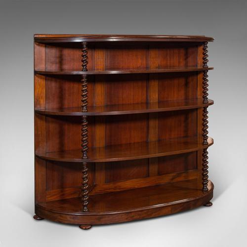 Antique Whatnot Bookshelf, English, Mahogany, Demi-lune, Bookcase, Victorian (1 of 12)