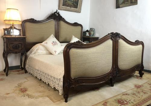 Antique French Bespoke Carved & Upholstered Extra Large Bed Frame (1 of 16)