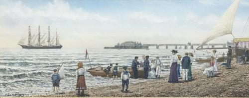 Colin M Baxter Watercolour 'Pitlochry off Brighton Pier Summer 1910' (1 of 2)