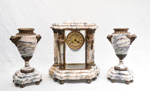 Antique French Gilt Clock Set Garniture Urns with Atlas Figures (1 of 9)
