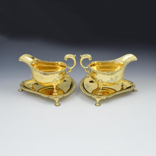 Fine Pair Of Edwardian Silver Gilt Sauce Boats (1 of 11)