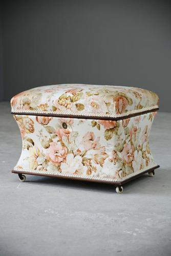 Victorian Upholstered Rosewood Concave Ottoman (1 of 13)