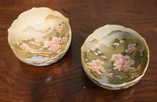 Fine Pair of Satsuma Lobed Bowls (1 of 7)
