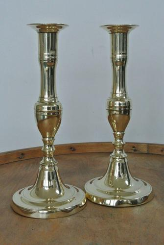 Pair of English 18th Century Georgian Seamed Brass Candlesticks c.1790 (1 of 6)