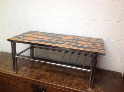 1960s Volcanic Tile Coffee Table on Chrome Supports (1 of 7)
