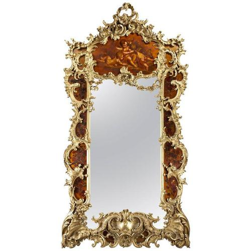 Large Giltwood & Vernis Martin Mirror by Louis Majorelle from the Dutch Royal (1 of 5)
