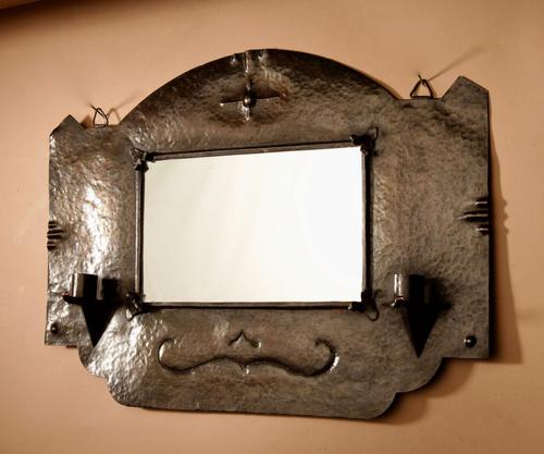 Amsterdam School Hammered Copper Wall Mirror / Sconces (1 of 13)