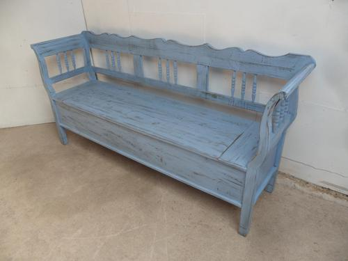Stunning Sky Blue 3 Seater Antique Pine Kitchen / Hall Box Settle / Bench (1 of 11)