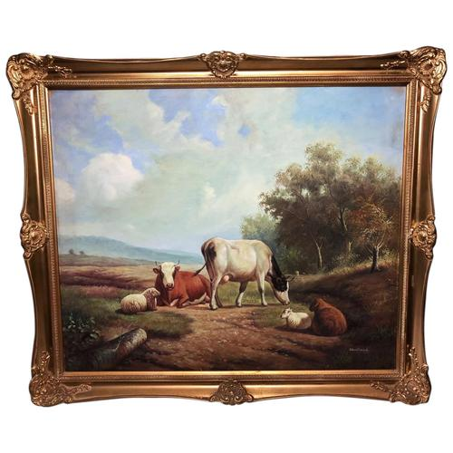 Fine Art English Oil Painting Cattle Cows & Sheep After Thomas Sidney Cooper (1 of 33)