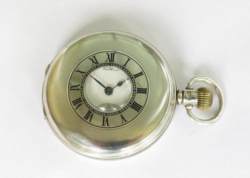 Antique Silver Waltham Traveler Half Hunter Pocket Watch (1 of 6)