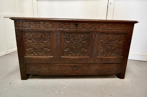 Large Carved Oak Mule Chest, Marriage Chest (1 of 10)