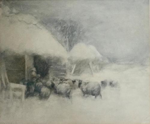 David Thomas Robertson Watercolour - Feeding Sheep in Snowy Winter (1 of 2)