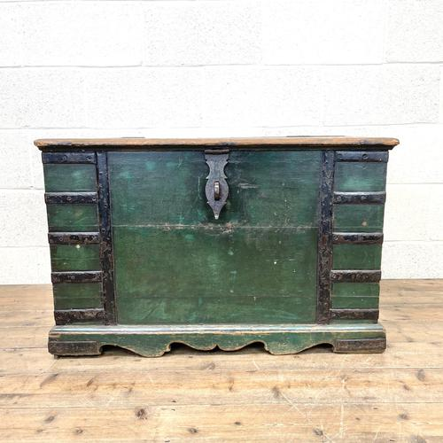 Large Distressed Painted Metal Bound Trunk (1 of 10)