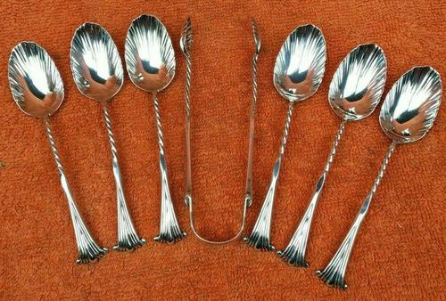 Antique Sterling Silver Hallmarked 1887 Onslow  6 x Tea Spoons & Tongs ,  Josiah Williams & Co, London (1 of 10)