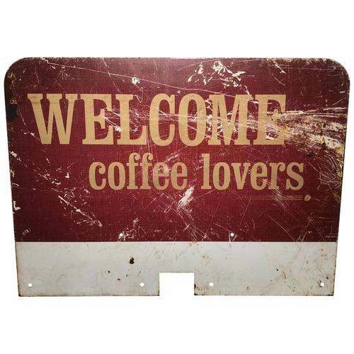 Vintage English Original Enamel Metal Welcome Coffee Lovers Double Sided Shop Sign (1 of 21)