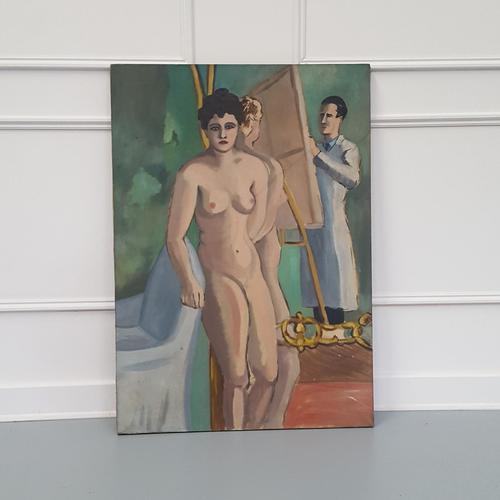 Nude Study Oil Painting c.1950 (1 of 3)