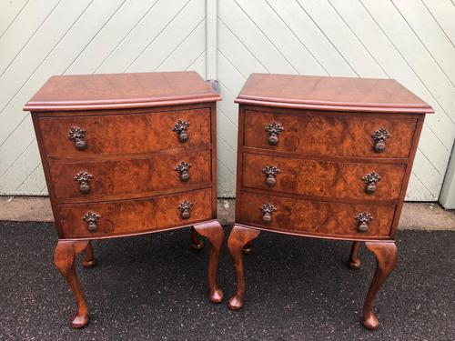 Pair of Antique Burr Walnut Bedside Chests (1 of 9)