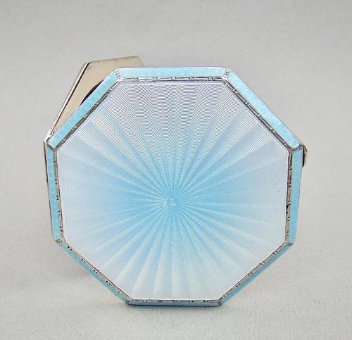 Rare & Fabulous Art Deco Silver & Guilloche Enamel Compact by Albert Carter, Birmingham 1936 (1 of 9)