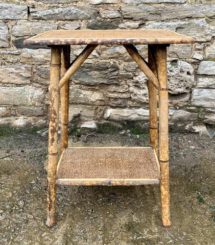 Antique Victorian Bamboo & Rattan Occasional Side Table (1 of 9)