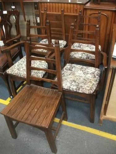 Set of Five Unusual Oak Country Style Ladder Back Chairs (1 of 2)